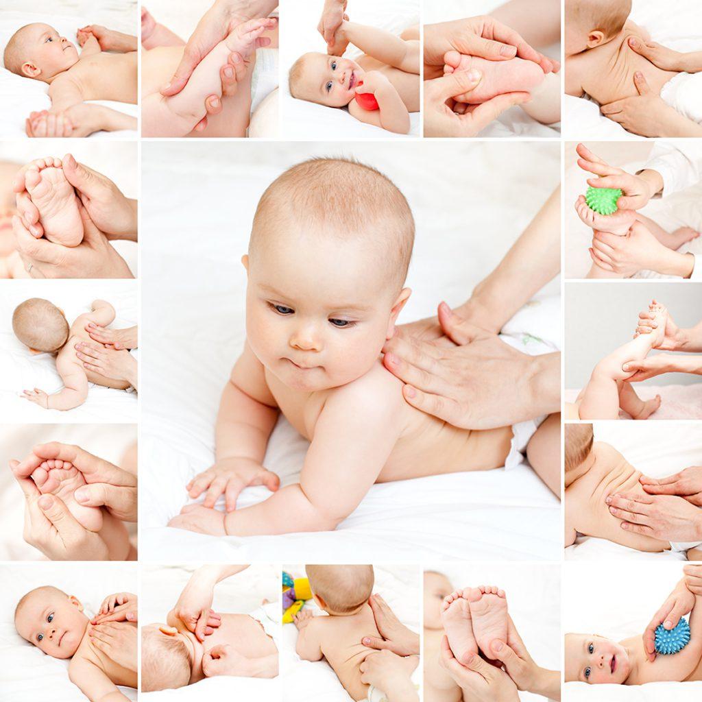 Masseuse massaging little baby girl